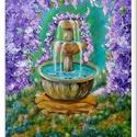 Szökőkutas - virágos , Képzőművészet, Festmény, Akril, 35 x 41 cm-es faroston akril festés, Gesso alapon, lakk fedőréteggel. Címkék: festmény, akril,..., Meska