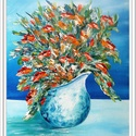 Csendélet kancsóval , Képzőművészet, Festmény, Akril, 37 x 47 cm-es Gesso felületkezelt faroston akril festés festőkéssel, lakk fedőréteggel.  Tavas..., Meska