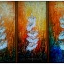 Három - szálas , Képzőművészet, Festmény, Akril, 60 x 40 cm-es ( 1,8 cm vastag ) , Gesso felületkezelt bútorlapon akril festés, festőkéssel lakk..., Meska