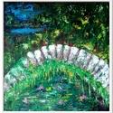 Híd tájban, Képzőművészet, Festmény, Akril, 47 x 47 cm-es faroston Gesso alap, akril festés, lakk fedőréteg.  Festőkéssel készült egyedi,..., Meska