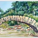 Hidas táj , Képzőművészet, Festmény, Akril, 41 x 25 cm-es faroston akril festés, ecsetek, festőkés.  Az eredeti festést adom, nem nyomatot, a ké..., Meska