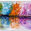 Színes erdő, Képzőművészet, Festmény, Akril, 60 x 40 cm-es bútorlapon ( 1,8 cm vastag ),  Gesso alap, akril festés  festőkés, ecsetek eszközökkel..., Meska