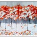 Fantázia fák fehérben , Képzőművészet, Festmény, Akril, 60 x 40 cm-es ( 1,8 cm vastag ) bútorlapra készült akril festés, festőkéssel.   Egyedi hangulat, elk..., Meska
