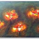 Öt virágos , Képzőművészet, Festmény, Akril, 37 x 50 cm-es OSB lapon Gesso alap, akril festés, festőkéssel, lakk fedőréteget kapott a festmény.  ..., Meska