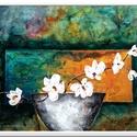 Virág a világban , Képzőművészet, Festmény, Akril, 40 x 30 cm-es festőkartonon gesso alap, akril festés, ecsetekkel és festőkéssel , vízbázisú ..., Meska