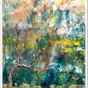 Sejtelmes erdős 2. , Képzőművészet, Festmény, Akril, 42 x 55 cm-es faroston akril festés, festőkéssel, lakk fedőréteggel.  Címkék: festmény, akril, táj, ..., Meska
