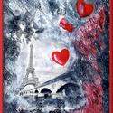 Párizsi emlék , Képzőművészet, Festmény, Akril, Festmény vegyes technika, 25,5 x 29 cm-es farostra készült akril anyagú kézi festés festőkéssel, gesso alapon, amit most kombi..., Meska
