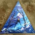 """"""" Téli éjes táj - háromszög falióra """" , Képzőművészet, Otthon, lakberendezés, Festmény, Falióra, óra,  26 cm-es oldalhossz méretű falapra készült saját ötletű kézi tájkép festés, akril festékkel, gesso ..., Meska"""