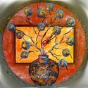 """"""" Pici világok ideje - falióra """", Képzőművészet, Otthon, lakberendezés, Festmény, Falióra, óra,   30 cm-es falapra készült saját ötletű kézi tájkép - csendélet festés, akril festékkel, gesso alapo..., Meska"""