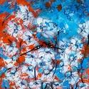 Kék és narancssárga órás , Képzőművészet, Otthon, lakberendezés, Festmény, Falióra, óra, 24 x 24 cm-es falapra készült saját ötletű kézi tájkép festés, akril festékkel, gesso alap..., Meska