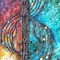 Adj hangot - zene boga , Képzőművészet, Festmény, Akril, 43 x 64 cm-es OSB lap ( 1 cm vastag ) , gesso alap, textúrpaszta, akril festék, festőkés eszköz..., Meska