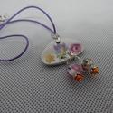 Porcelán ékszer, colié, Ékszer, Medál, Újra hasznosított porcelán !  Minden részében egyedi tervezett, kézimunka. csiszolt virágos p..., Meska