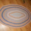 Horgolt   szőnyeg , Otthon, lakberendezés, Lakástextil, Szőnyeg, Különleges, makaróni fonalból horgolt szőnyeg.  mérete 110  cm x 155 cm   1  cm vastag puha, rugalma..., Meska