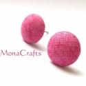 Rózsaszín textilgomb fülbevaló, Kellemes rózsaszín minőségi textillel bevont 1...