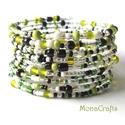 Fresh Lime - 10 soros memóriakarkötő, Ékszer, óra, Karkötő, Csajos, divatos, üdítően csillogó karkötőt készítettem kisebb-nagyobb zöld, fekete, fehér és átlátsz..., Meska