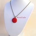 Pin-up - piros-fehér pöttyös antik bronz nyaklánc (MonaCrafts) - Meska.hu