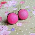 KIFUTÓ TERMÉK! Kamélia - kézzel festett metálpink textilgomb fülbevaló, Kifutó termékeim most utoljára kaphatók a Mesk...