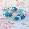 Blue princess - kék - fehér karkötő válogatott gyöngyökből, Ékszer, Karkötő, Kétsoros memóriadrótra fűztem mindenféle méretű, formájú kék, fehér és átlátszó gyöngyöt. Van közte ..., Meska