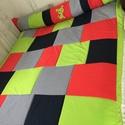 Patchwork takaró, falvédő kék-piros-zöld