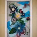 Szines virágok quilling kép, Dekoráció, Otthon, lakberendezés, Dísz, Falikép, Papírművészet, Quilling technikával készült (5mm-es papírcsíkok felhasználásával),  színes virág kompozíciót ábráz..., Meska