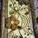 Sárgás-barnás színű, virágos quilling kép, Dekoráció, Otthon, lakberendezés, Falikép, Quilling technikával (5mm-es papírcsíkból) mdf lapra ragasztott, akasztóval ellátott fali kép..., Meska