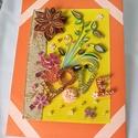 Valentin napi love feliratos kép, Dekoráció, Otthon, lakberendezés, Szerelmeseknek, Kép, Papírművészet, Narancssárga szegéllyel, sárga hátterű love feliratos, virágokkal diszített kép. Kartonra ragasztot..., Meska
