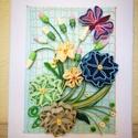 Virágos kép pillangóval, Dekoráció, Naptár, képeslap, album, Otthon, lakberendezés, Kép, Papírművészet, 15*20 cm-es 5mm-es papírcsíkokból, quilling technikával készült kép, keret nélkül. Kiváló ajándék l..., Meska