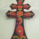 Fali kettős kereszt, Dekoráció, Magyar motívumokkal, Ünnepi dekoráció, Karácsonyi, adventi apróságok, Fából készült festett kettős kereszt. Mérete: 29*18*0,6 cm. , Meska