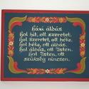 Házi áldás (kicsi), Magyar motívumokkal, Fából készült, kézzel festett házi áldás. Mérete: 22*17 cm, Meska