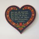 Szív házi áldás, Magyar motívumokkal, Falemezből készült szív alakú házi áldás hartai mintával festve. Mérete: 20 cm, Meska