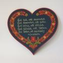 Szív házi áldás, Magyar motívumokkal, Falemezből készült szív alakú házi áldás hartai mintával festve. Kérheted német vagy ango..., Meska