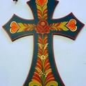 Fali kereszt, Dekoráció, Falemezből készült festett kereszt, akasztható, hartai mintával. Mérete:22*16 cm., Meska