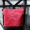 CITY BAG HÁTIZSÁK/OLDALTÁSKA : Fekete bőr koptatott tégla canvas vászonnal, Táska, Mindenmás, Hátizsák, Válltáska, oldaltáska, Varrás, KÉSZLETEN!  Sokak kérésére mostantól végre készülnek olyan táskák is, amik oldaltáskák és hátizsáko..., Meska