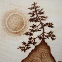 Magányos fa, Dekoráció, Képzőművészet, Otthon, lakberendezés, Kép, Magányos fa - pirográfia  Pirogravírozott, azaz fába égetett fali kép.  Rétegelt nyírfalapra..., Meska