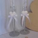 Ezüstösen csillogó esküvői pohárszett , Dekoráció, Esküvő, Ünnepi dekoráció, Esküvői dekoráció, Mindenmás, Ezüstösen csillogó esküvői pohárszettemet ajánlom esküvőkre, eljegyzésre, valentin napra. Poharaima..., Meska
