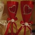Piros és fehér, Dekoráció, Esküvő, Ünnepi dekoráció, Esküvői dekoráció, Fehér és piros esküvői pohárszett  A Fény, a tisztaság, a differenciálatlanság, a transzcen..., Meska