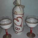 Boldogság üveg szett , Esküvő, Nászajándék, Esküvői dekoráció, Boldogság üveg szettem esküvőre, házassági évfordulóra ajánlom. Zsinórozott technikával k..., Meska