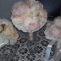 Vintage menyasszonyi csokor+koszorúslányoknak csokor, Esküvő, Esküvői csokor, Esküvői dekoráció, Virágkötés, Mindenmás, Selyemvirágból készült menyasszonyi csokoromhoz és a koszorúslányoknak készült csokromhoz bazsarózs..., Meska