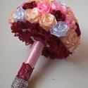 Menyasszonyi csokor rózsából, Esküvő, Esküvői csokor, Esküvői dekoráció, Menyasszonyicsokor 56 db rózsából készült. Minden egyes rózsát én készítettem a csokorhoz...., Meska
