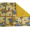 Babatakaró, játszó szőnyeg, Baba-mama-gyerek, Gyerekszoba, Falvédő, takaró, Baba-mama kellék, Puha,meleg háromrétegű gyerektakaró. Az egyik oldala sárga alapon Macis mintájú pamutvászon...., Meska