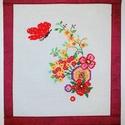 keresztszemes kép, Dekoráció, Dísz, Kép, Hímzés, Varrás, keresztszemes színes virágok,pillangóval falikép ,27 cm x 30 cm + akasztó 15 cm ,bordó textil hátlap, Meska
