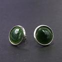 Zöld tűzzománc bedugós fülbevaló, Ékszer, Ékszerszett, Fülbevaló, Beszúrós tűzzománc fülbevaló, mely az zöld színében pompázik.  Az ezüst színű foglalat nikkelmentes,..., Meska