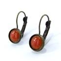 Kicsi narancssárga tűzzománc fülbevaló, Ékszer, óra, Ékszerszett, Fülbevaló, Ékszerkészítés, Tűzzománc, Tűzzománc fülbevaló, mely narancssárga zománccal készült.   A bronz színű foglalat nikkelmentes, an..., Meska