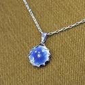 Kék tűzzománc nyaklánc, Ékszer, Medál, Nyaklánc, Ékszerszett, Tűzzománc nyaklánc, mely a kék színében pompázik.  Az ezüst színű foglalat és lánc nikkelmentes, ant..., Meska