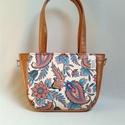 City-bag 39 női táska, Táska, Válltáska, oldaltáska, Varrás, Szép nyári virágokat kombináltam mustár színű textilbőrrel. Egyedi, elegáns és különleges táska let..., Meska