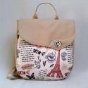 Back-pack 10 női hátizsák, Táska, Hátizsák, Varrás, Párizs mintás hátizsák, kizárólag romantikusoknak! Saját tervezésű, egyedileg nyomott, szép, mozgal..., Meska