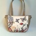 City-bag 38 női táska, Táska, Válltáska, oldaltáska, Varrás, Virágos rét és a pillangók tánca olyan ezen a táskán akár egy festmény! Nagyon különleges táska, am..., Meska