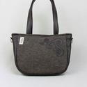 City-bag 44 női táska, Táska, Válltáska, oldaltáska, Szűrhímzések egy részletét használtam ennél a táskánál. Nagyon erős barna buklészövet a..., Meska