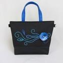 Base-bag 24 nagy női táska, Táska, Válltáska, oldaltáska, Varrás, Nemezelés, Nagyon mutatós, kék árnyalatokból álló szecessziós minta díszíti ezt a táskát. A saját készítésű ne..., Meska