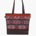 Base-bag 29 etno mintás női nagytáska, Táska, Válltáska, oldaltáska, Gyönyörű földszíneket használtam ennél a nagy táskánál. Nagyon szép barna textilbőrből ..., Meska